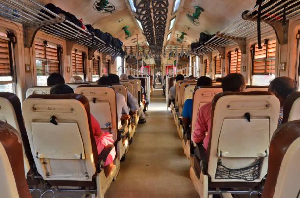 Aboard a 2nd class railroad car in Sri Lanka stock photo