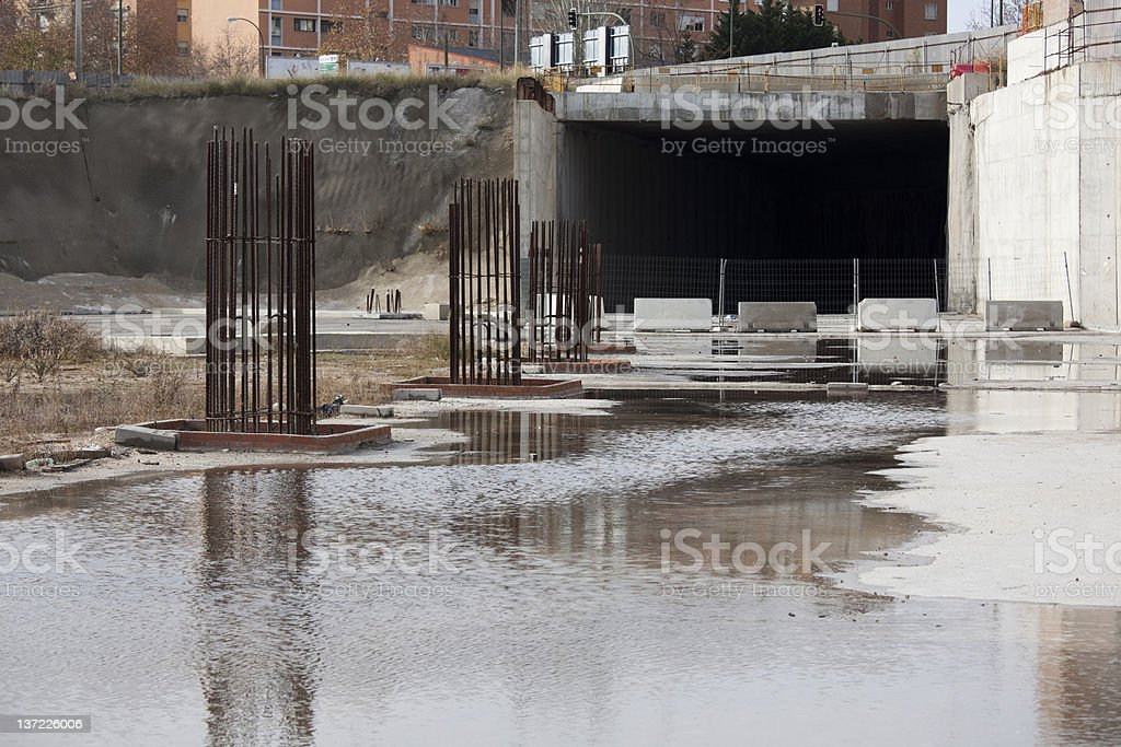 Abondoned urban freeway tunnel construction site, economic difficulties stock photo