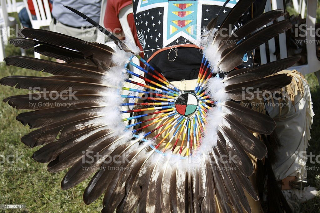 Aboriginal Canadian outfit detail. stock photo