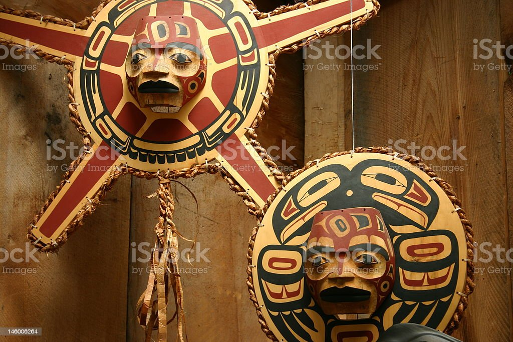 Aboriginal carvings stock photo