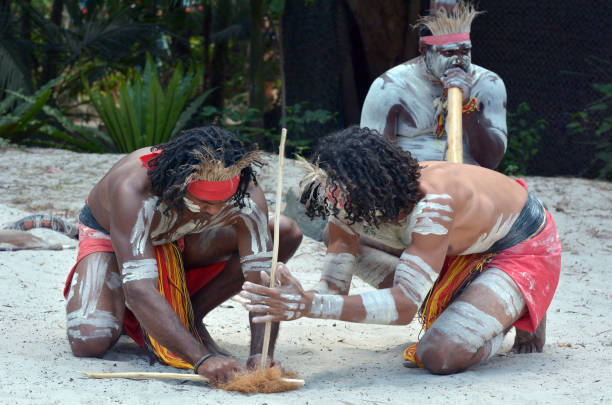 Aboriginal culture show in Queensland Australia stock photo