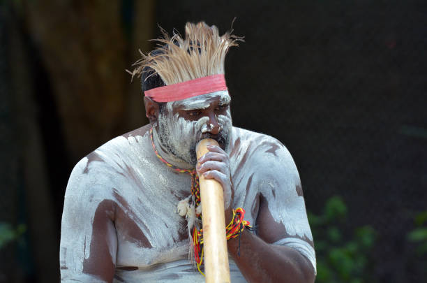 aboriginal culture show in queensland australia - didgeridoo stock photos and pictures