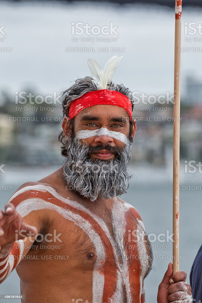 Aboriginal dancer at Homeground indigenous Festival in Sydney stock photo
