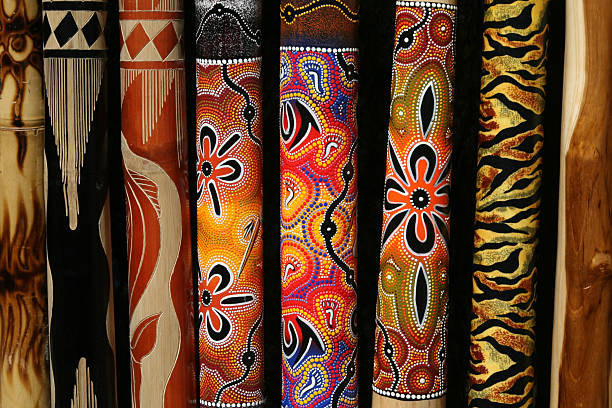 aboriginal design - didgeridoo stock photos and pictures