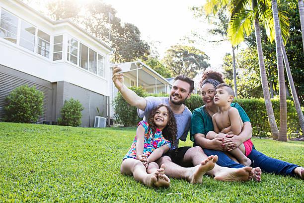 Aboriginal family selfie at home stock photo