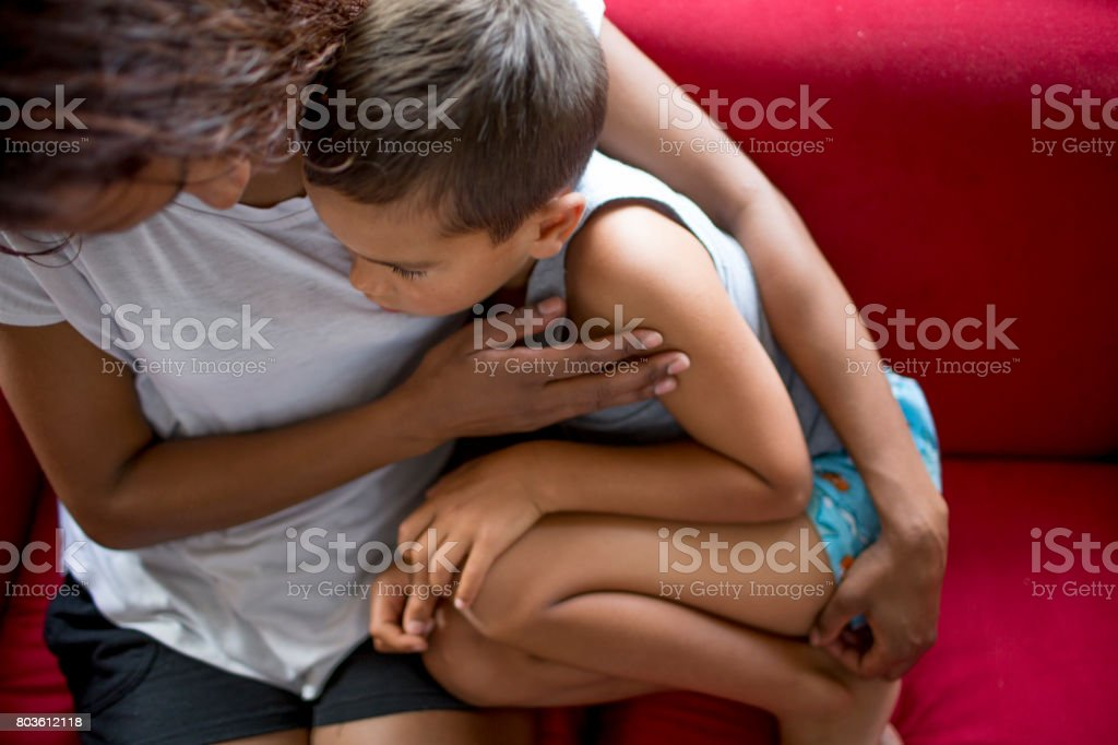 Aboriginal Indigenous Australian mother and son stock photo