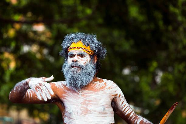 Aboriginal male dancing, street performer, Sydney Australia stock photo