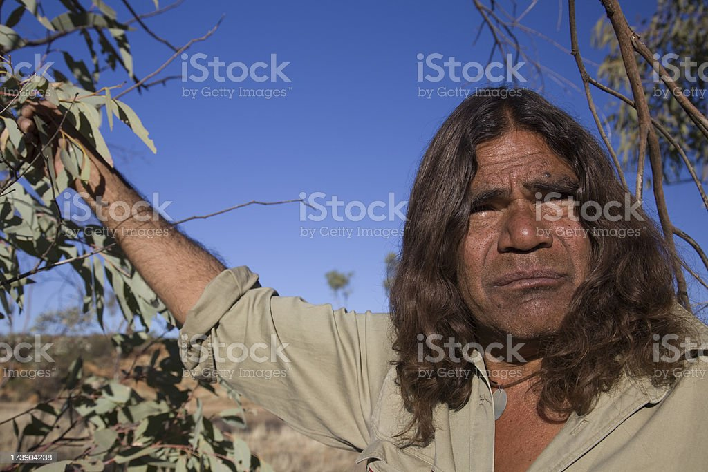 Aboriginal Man in the Outback stock photo