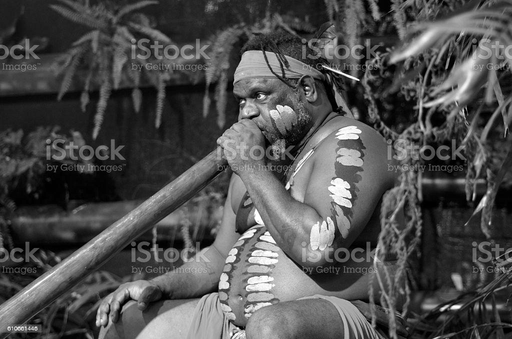 Aboriginal man play Aboriginal music on didgeridoo Portrait of one   Yirrganydji Aboriginal man play Aboriginal music on didgeridoo, instrument during Aboriginal culture show in Queensland, Australia.(BW) Adult Stock Photo