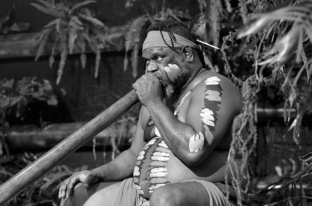 aboriginal man play aboriginal music on didgeridoo - didgeridoo stock photos and pictures