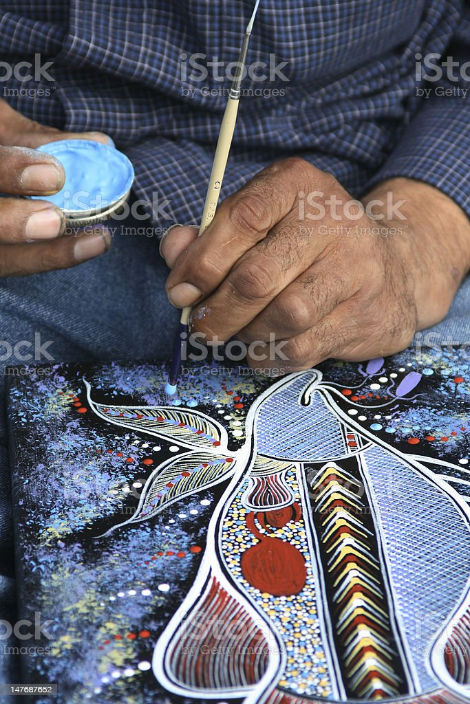Aboriginal painter stock photo