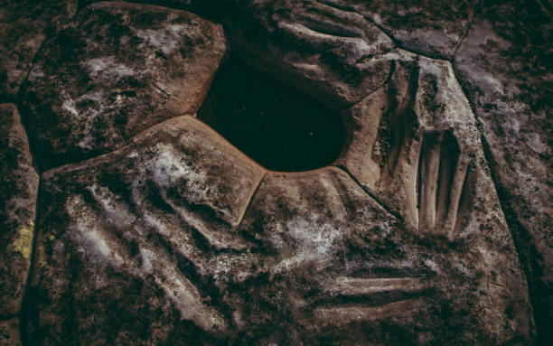 Aboriginal Spear Sharpening Hole stock photo