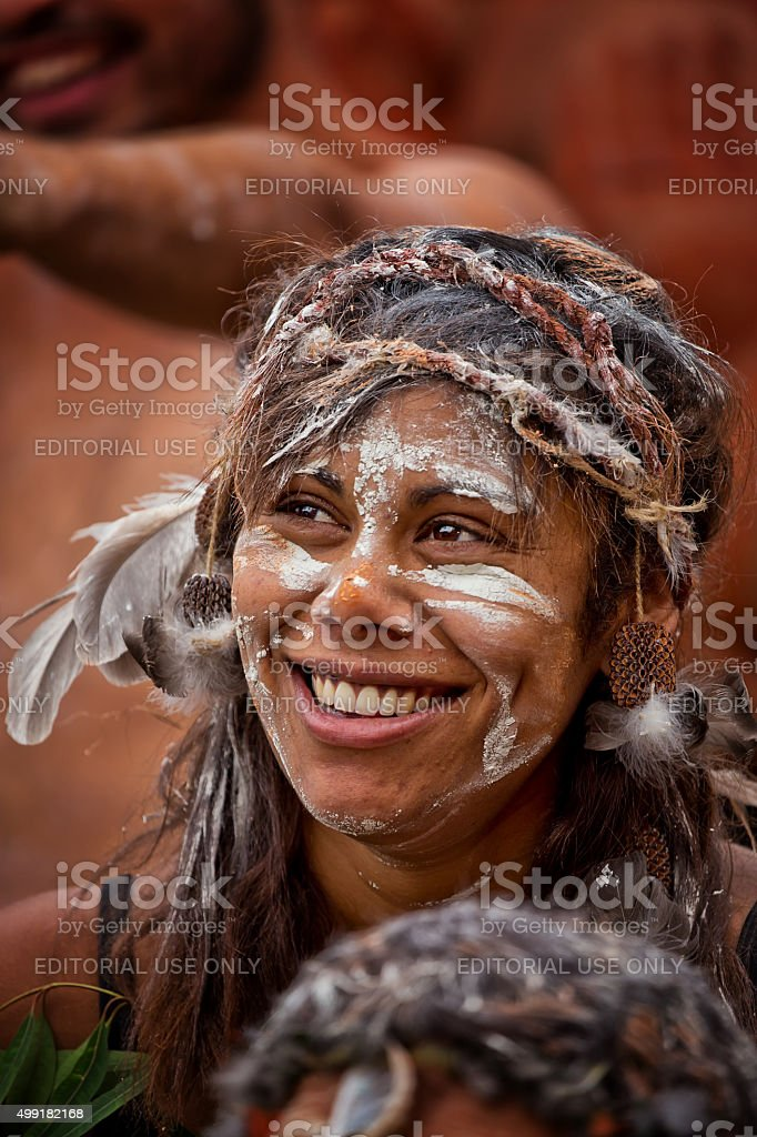 Aboriginal woman dancer at Homeground indigenous Festival in Sydney stock photo