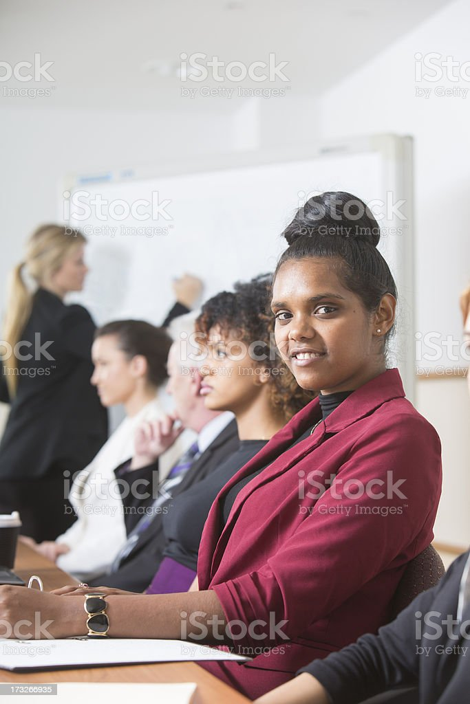 Aboriginal Woman In a Meeting stock photo