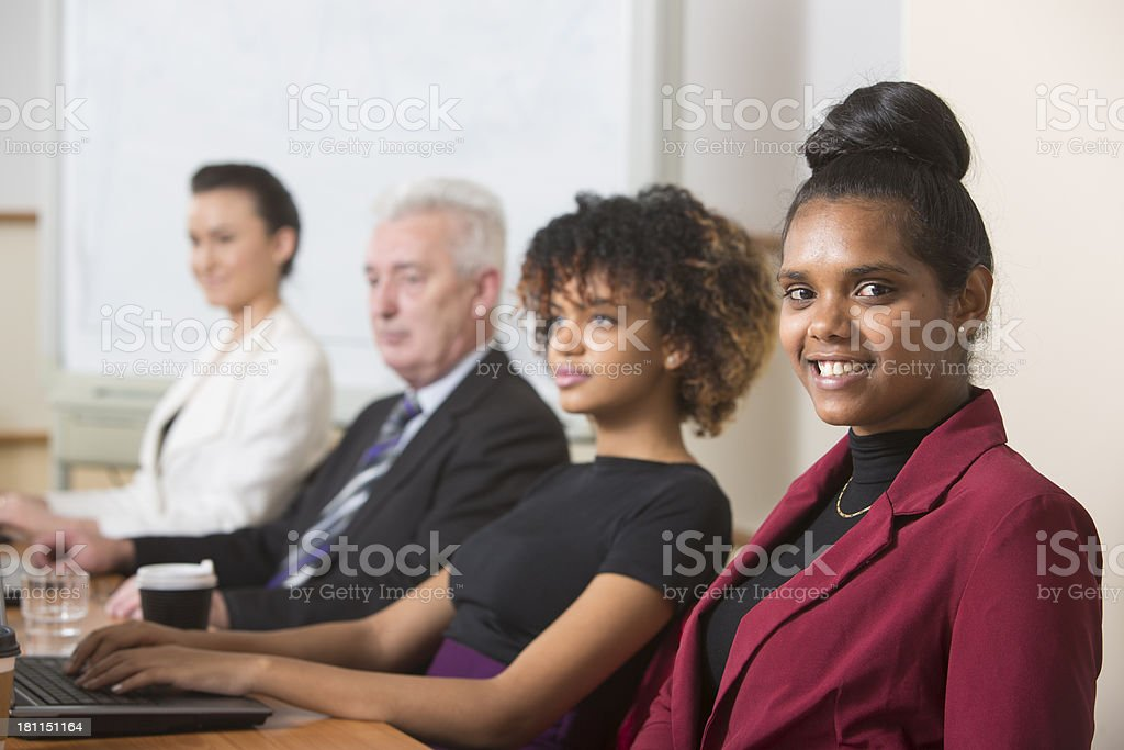 Aboriginal Woman In a Meeting royalty-free stock photo