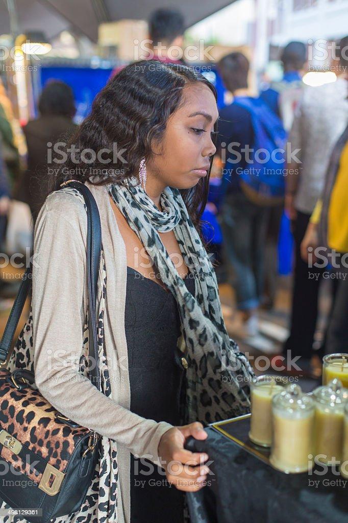 Aboriginal Woman Market Shopping royalty-free stock photo
