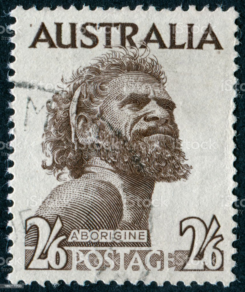 Aborigine Stamp stock photo