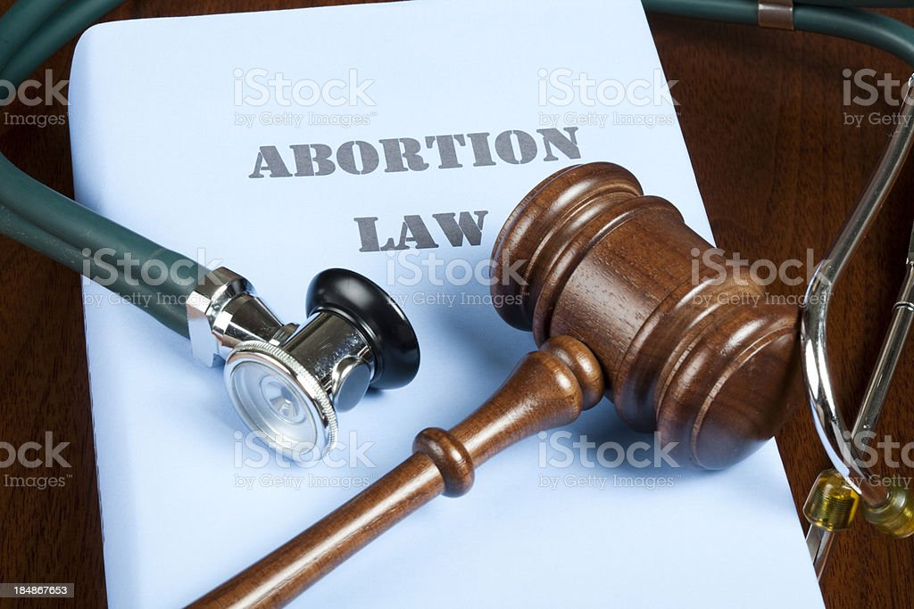 Abortion law and judge's gavel stock photo