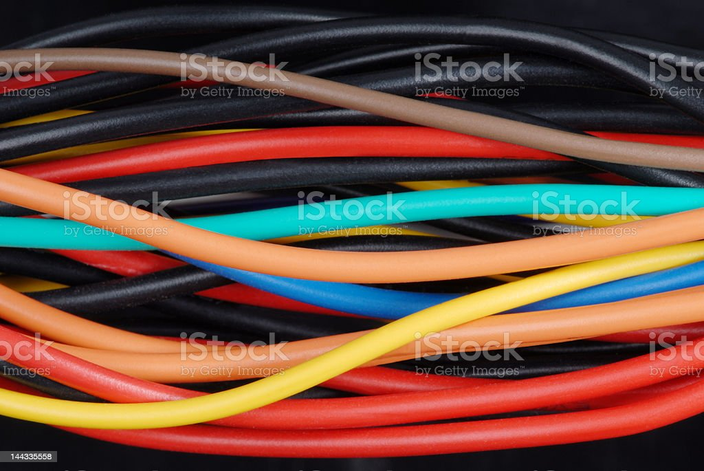 About 30 to 40 colored cables together stock photo