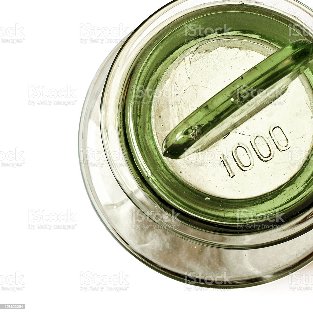 About Cooking: Apothecary Glass Jar Plug Lid Sugar Container, Kitchenware royalty-free stock photo