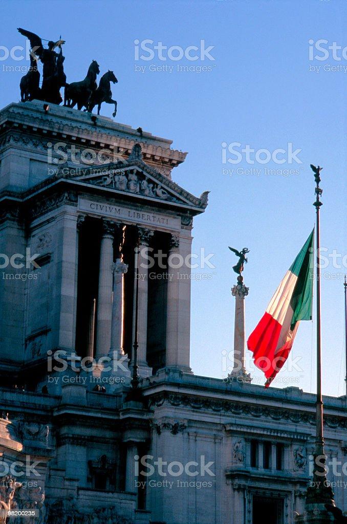 About Rome / Altare Della Patria, Italian Flag Tricolore, Vittoriale, Italy royalty-free stock photo