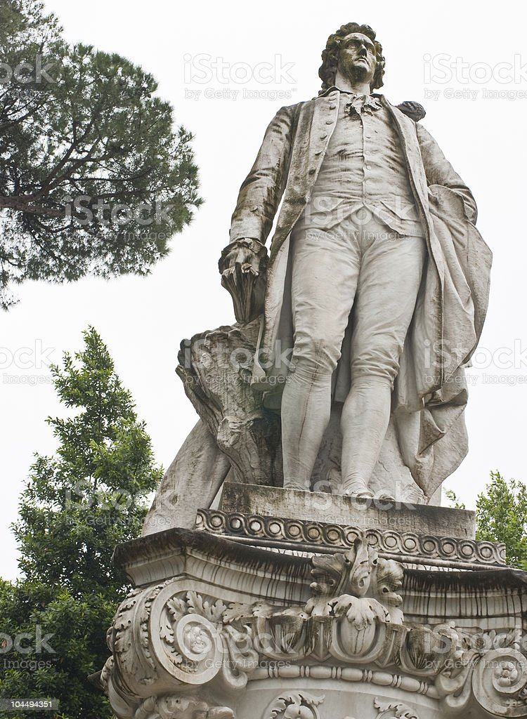 About Rome / Art in Villa Borghese, Goethe Statue Monument, Italy royalty-free stock photo
