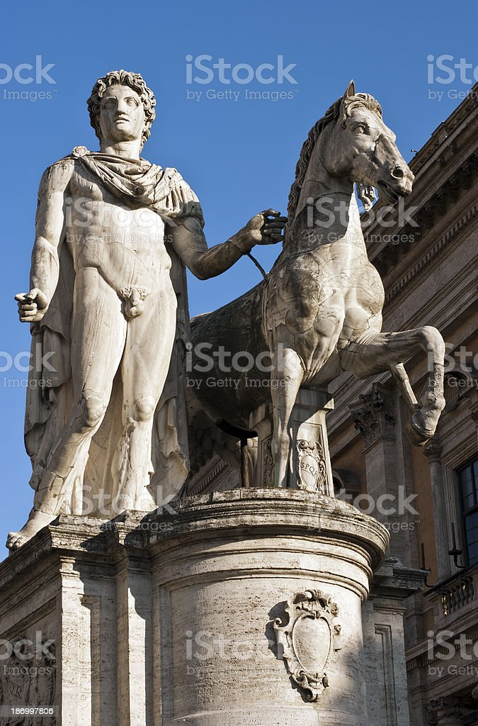 About Rome: Castor and Pollux Monument, Capitoline Hill, Italy royalty-free stock photo