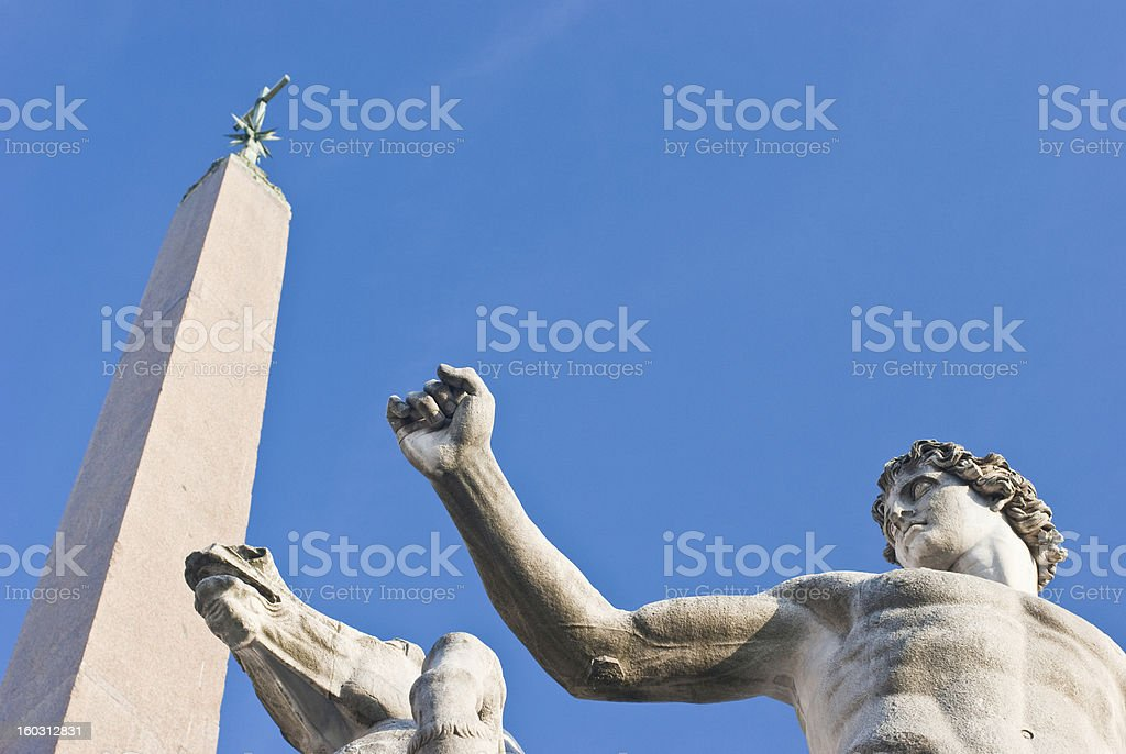 About Rome: Dioscuri Fountain Obelisk, Piazza Quirinale, Italy royalty-free stock photo