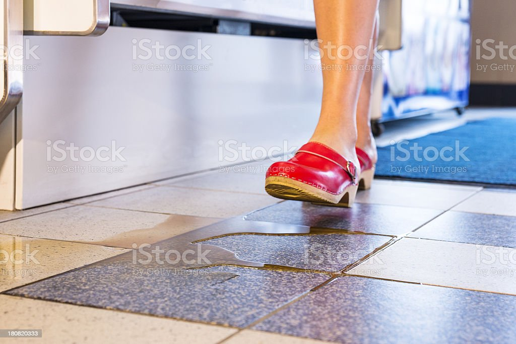 About to step into a spill stock photo