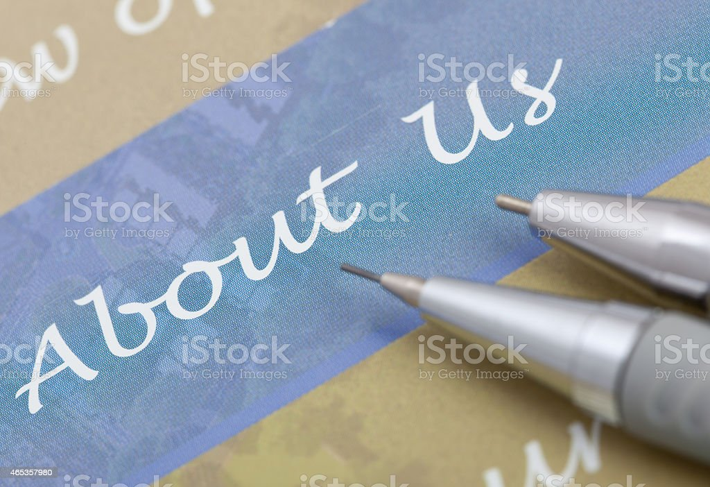 About Us Text stock photo