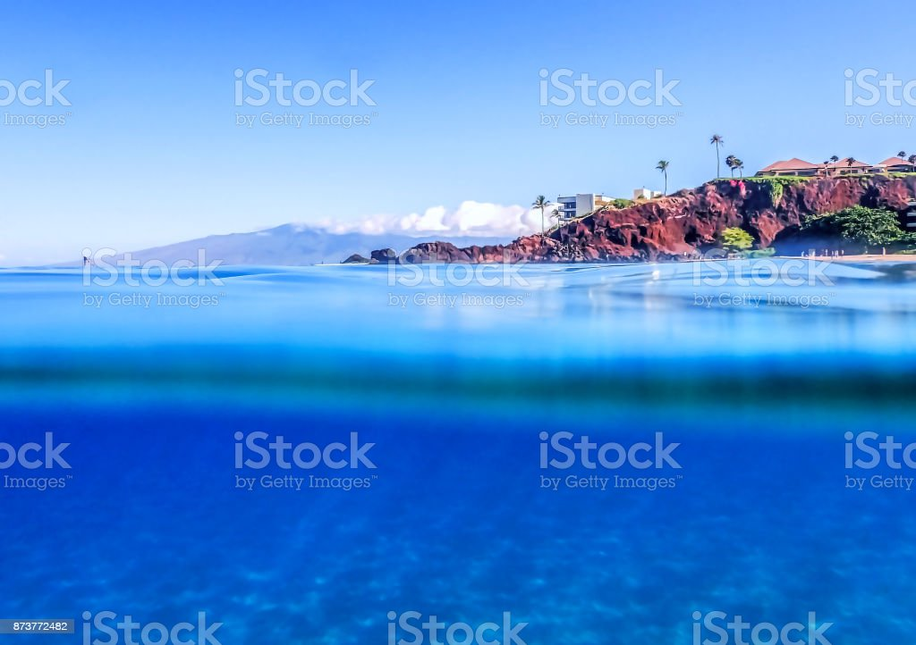 Above and Below the Ocean in Hawaii stock photo