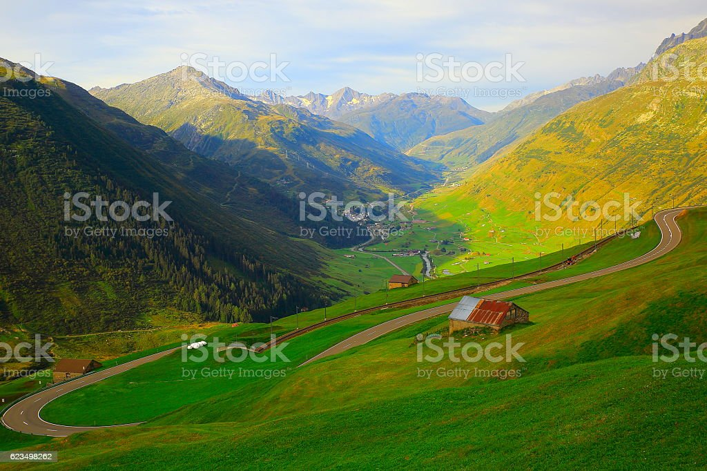 Above Andermatt panorama, Furka pass from Oberalp Pass, Swiss Alps stock photo