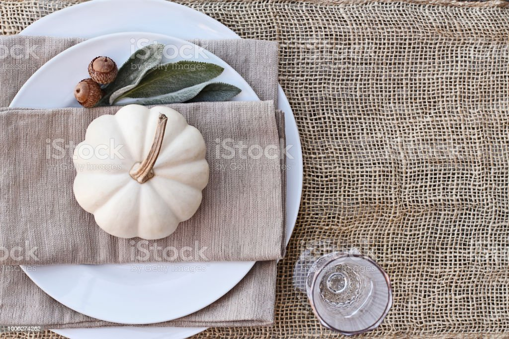 Above Autumn Place Setting stock photo