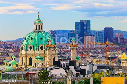Above Beautiful Vienna Cityscape panorama, with Karlskirche