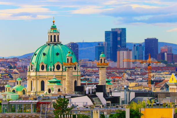 above beautiful vienna cityscape panorama, with karlskirche - vienna stock photos and pictures