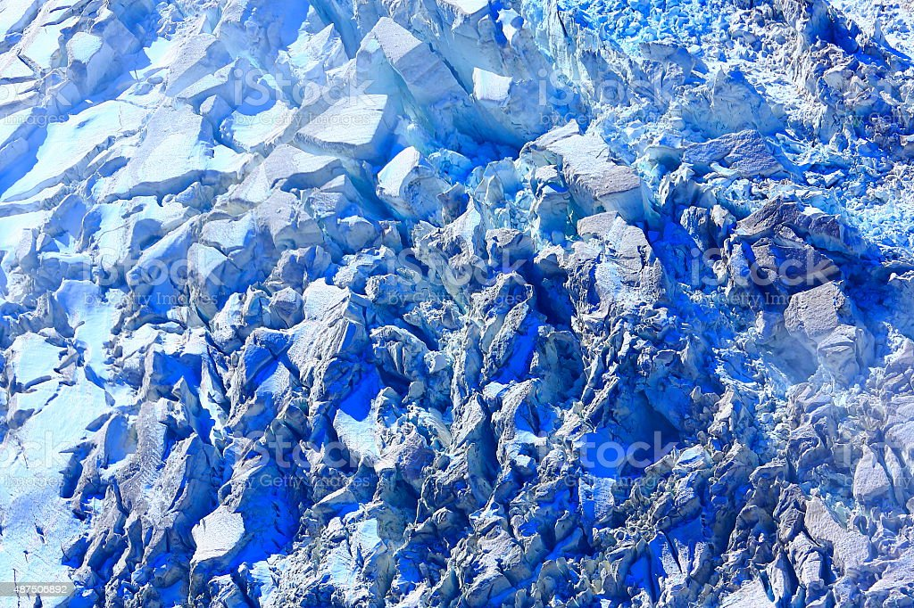 Above Bossons Glacier close-up patter ice abstract landscape stock photo