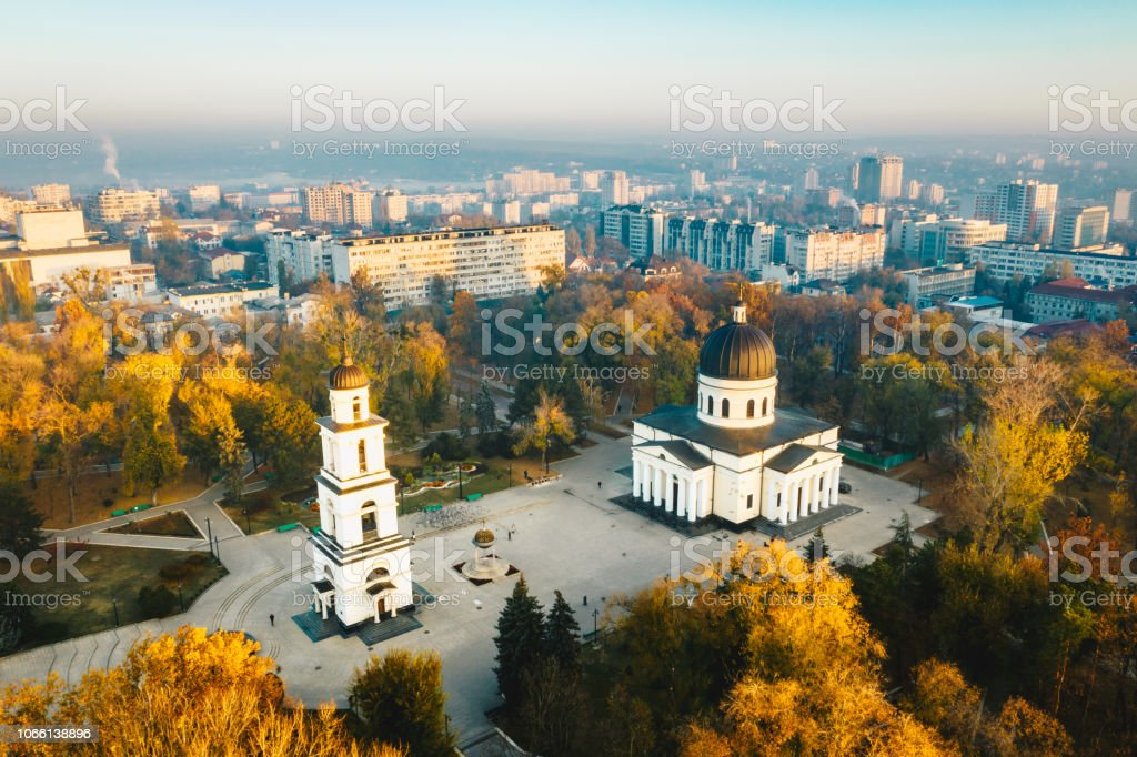 Above Chisinau at sunset. Chisinau is the capital city of Republic of Moldova stock photo