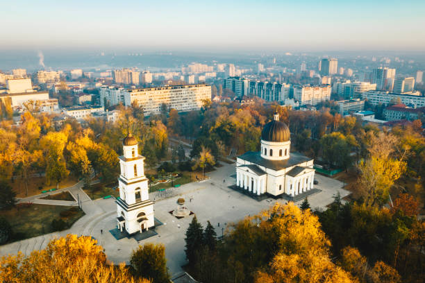 above chisinau at sunset. chisinau is the capital city of republic of moldova - moldova stock pictures, royalty-free photos & images