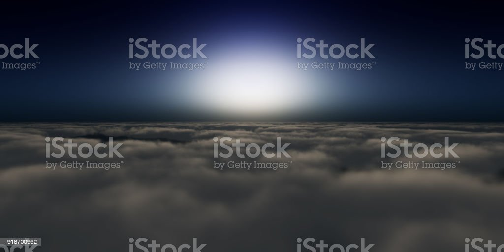 above clouds sunset stock photo