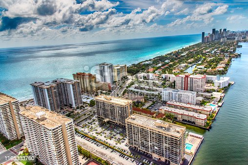 Hotels and condominiums lining the beaches of beautiful South Florida just north of the city of Miami shot from an altitude of about 1000 feet.