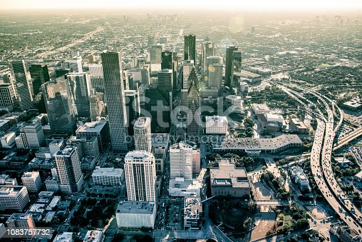 The downtown and surrounding metropolitan area of Houston, Texas shot from an altitude of about 1500 feet during a helicopter photo flight.