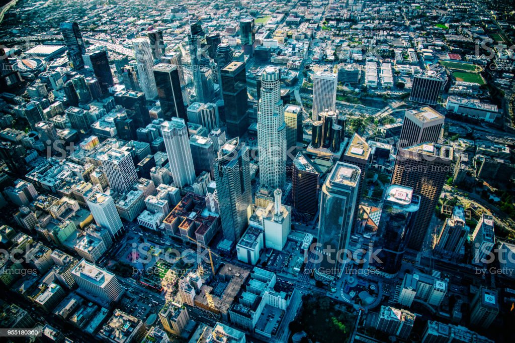 Above Downtown Los Angeles stock photo
