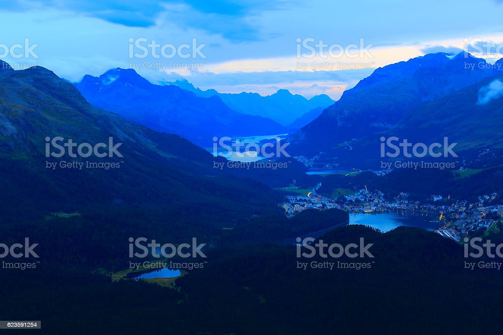 Above Engadin valley, St Moritz, Silvanaplana lakes evening, Swiss Alps stock photo