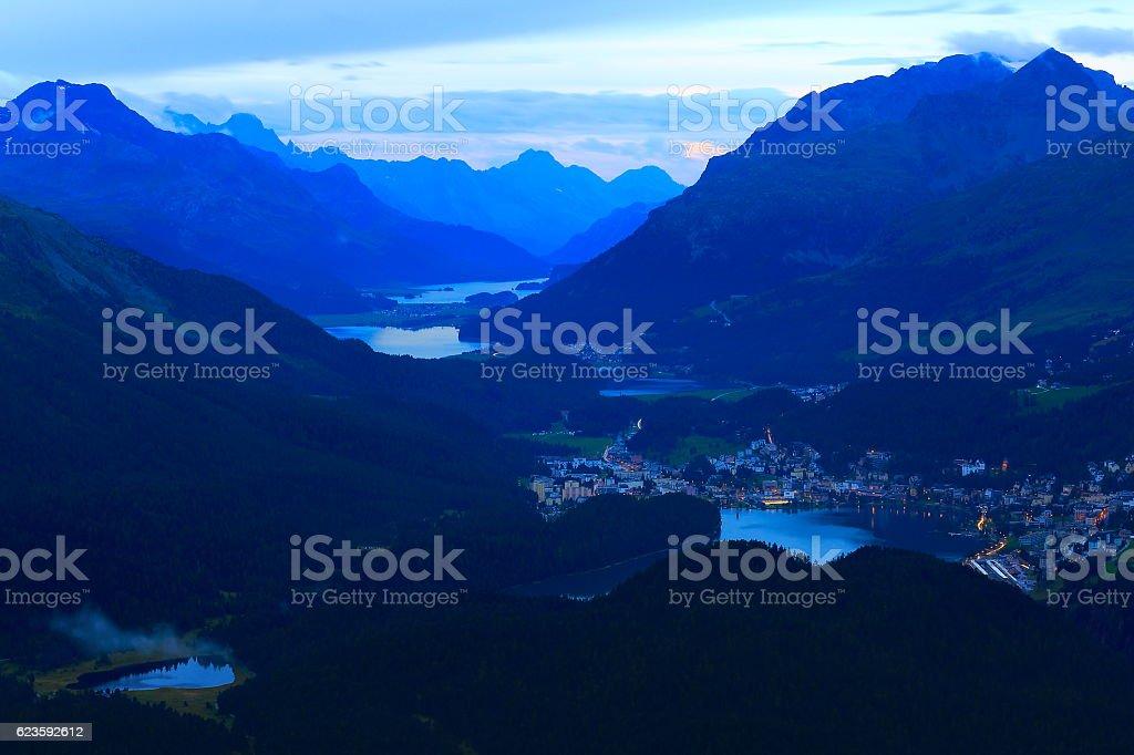 Above Engadine valley, St Moritz, Silvanaplana lakes evening, Swiss Alps stock photo