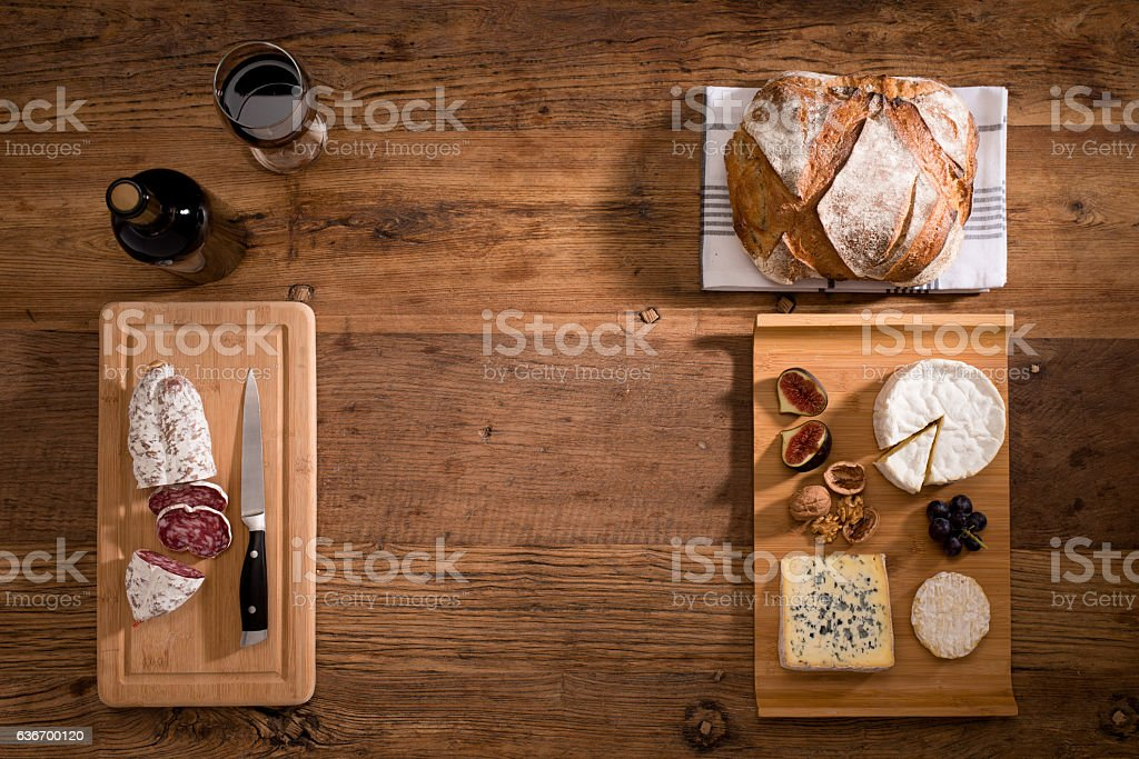 above flat lay cheese tray red wine appetizer wooden background stock photo
