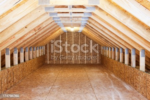 Above Garage Attic Space With Roof Trusses Stock Photo