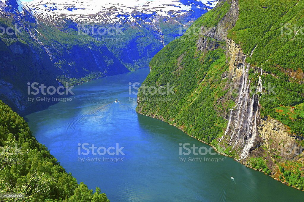 Above Geiranger Fjord Boats and Seven Sisters Waterfall, Norway stock photo