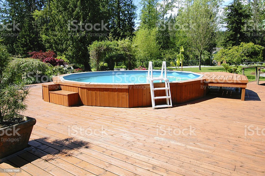 Above Ground Back Yard Pool royalty-free stock photo