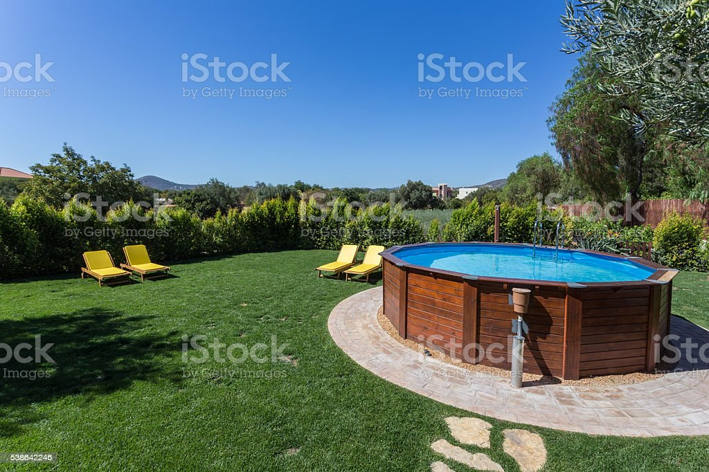 Above Ground Pool Sets On A Concrete Pad . Royalty Free Stock Photo