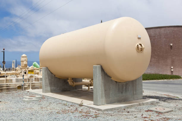 Above ground Storage tank at an Industrial Facility stock photo